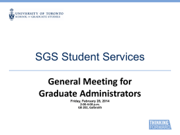 SGS Student Services - University of Toronto