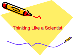 Thinking Like a Scientist - Tuslaw Local School District