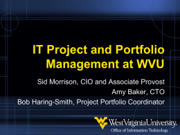 IT Project and Portfolio Management at WVU