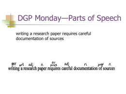 DGP: Monday—Parts of Speech
