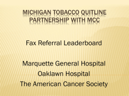 Michigan Tobacco Quitline Partnership with MCC