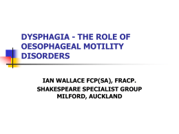 SWALLOWING DISORDERS - Auckland District Health Board