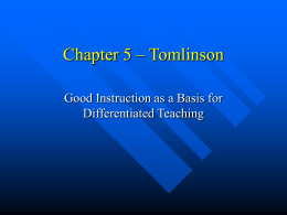 Chapter 5 – Tomlinson - Framingham High School