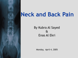 Neck and Back Pain - Family Practice Residency Program