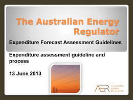 Expenditure forecast assessment guidelines