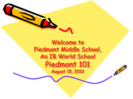 Welcome to Piedmont IB Middle School's Parent 101 August