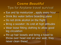 Cosme Beautiful Tips for Airplane travel survival
