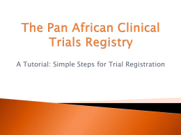 The Pan African Clinical Trials Registry