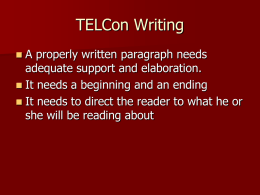 TELCon Writing