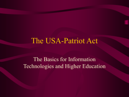 The USA-Patriot Act