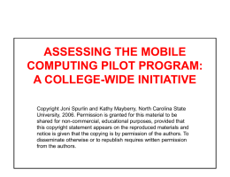 Assessing the Mobile Computing Pilot Program