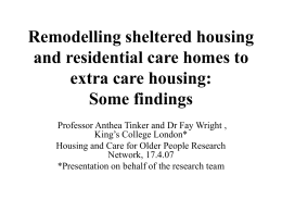 Remodelling sheltered housing and residential care homes
