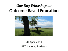 Outcome Based Education - Pakistan Engineering Council
