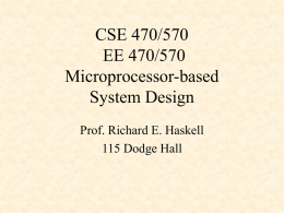 CSE 171 Introduction to Digital Logic and Microprocessors