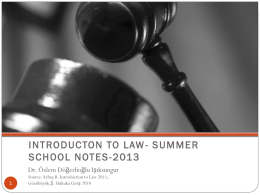 INTRODUCTON TO LAW- SUMMER SCHOOL NOTES