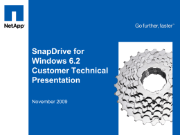 SnapDrive 6.0 for Windows SE Presentation
