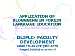 APPLICATION OF BLOGGGING IN FOREIN LANGUAGE EDUCATION