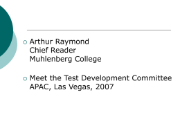 Arthur Raymond Chief Reader Muhlenberg College Meet the