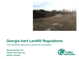 Georgia Inert Landfill Regulations