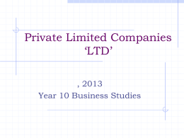 Private Limited Companies 'LTD'