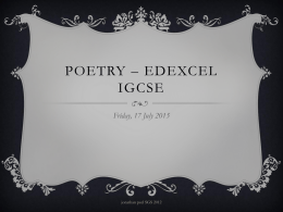 POETRY – Edexcel IGCSE - English teaching resources