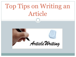 Top Tips on Writing an Article