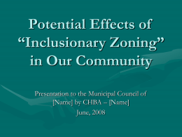 "Potential Effects of ""Inclusionary Zoning"" in Canada"