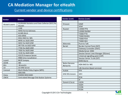 CA Mediation Manager Current vendor and device certifications