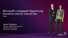 BP01: Microsoft's Untapped Opportunity – SharePoint 2010