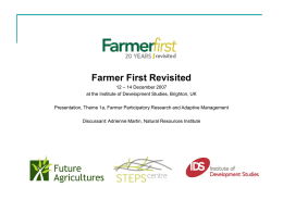 A) FARMER PARTICIPATORY RESEARCH AND ADAPTIVE MANAGEMENT