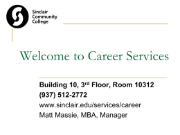 Career Services Orientation - Sinclair Community College