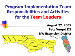 Program Implementation Team Leader Responsibilities and