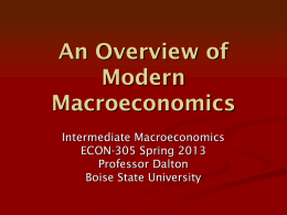 Intermediate Macroeconomics - College Of Business and