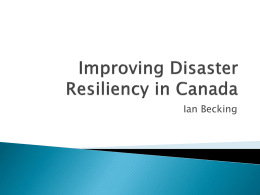 Improving Disaster Resiliency in Canada