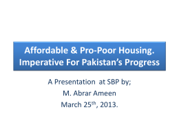 Affordable & Pro-Poor Housing Imperative For Pakistan