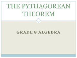 THE PYTHAGOREAN THEOREM - St. Francis Cathedral School