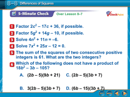 ppt 8-8 Differences of Squares