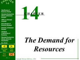 Chapter 27 - The Demand for Resources