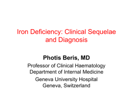 Iron Deficiency & Clinical Sequelae, Diagnosis