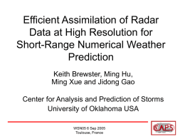 Efficient Assimilation of Radar Data for Short