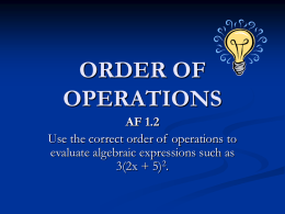Order of Operations - Bell Mountain Math Grade 7
