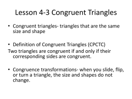 Lesson 4-3 Congruent Triangles