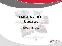 FMCSA / DOT - American Society of Safety Engineers