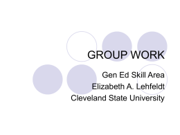 GROUP WORK - Cleveland State University