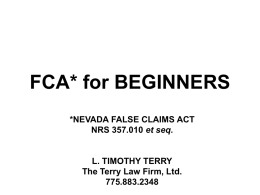 FCA* for DUMMIES - The Terry Law Firm