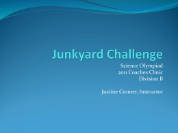 Junkyard Challenge - Virginia Science Olympiad