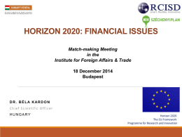 HORIZON 2020: NEW RULES FOR PARTICIPATION AND …