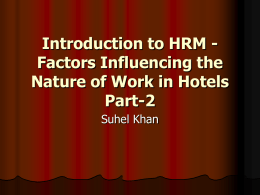 Introduction to HRM - Factors Influencing the Nature of