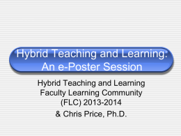 Hybrid/Blended Learning The College at Brockport