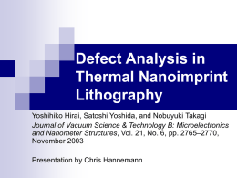 Defect Analysis in Thermal Nanoimprint Lithography